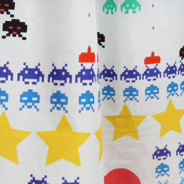 White Gamer Print Cotton Maxi Dress