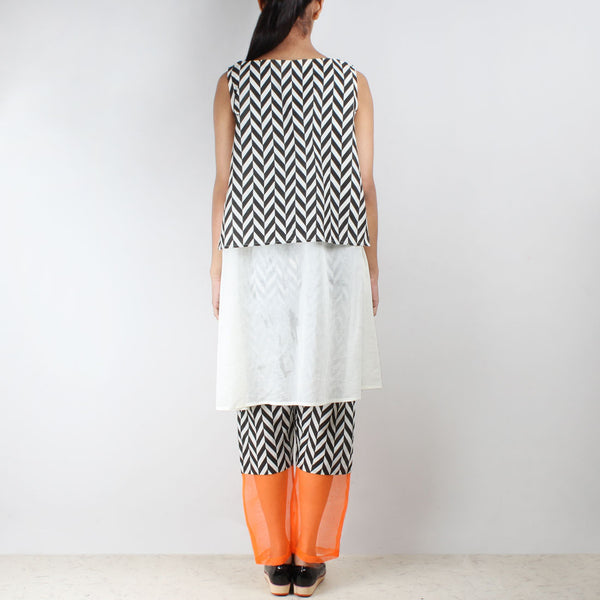 Set Of Chevron Overlay Tunic & Cotton Trousers