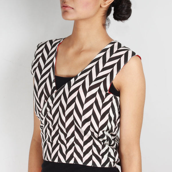 Set Of Chevron Tie Up Vest & Cotton Trousers