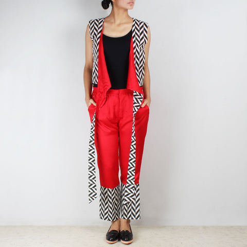 Set Of Chevron Tie Up Vest & Cotton Trousers by NAKITA SINGH
