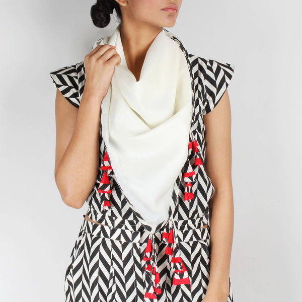 White Cotton Scarf With Chevron Border & Tassels by NAKITA SINGH