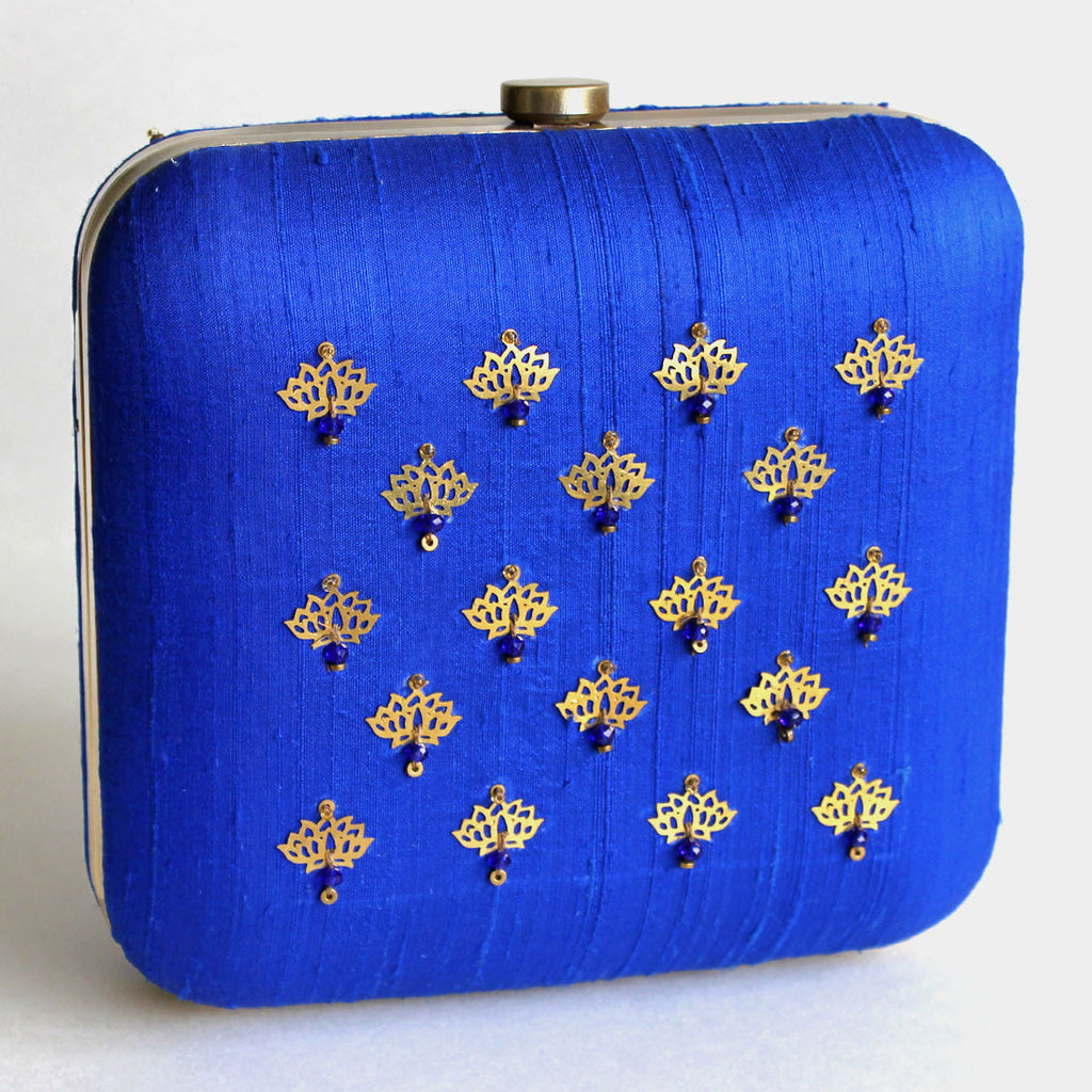Blue Raw Silk Khadi Clutch With Lotus Motifs
