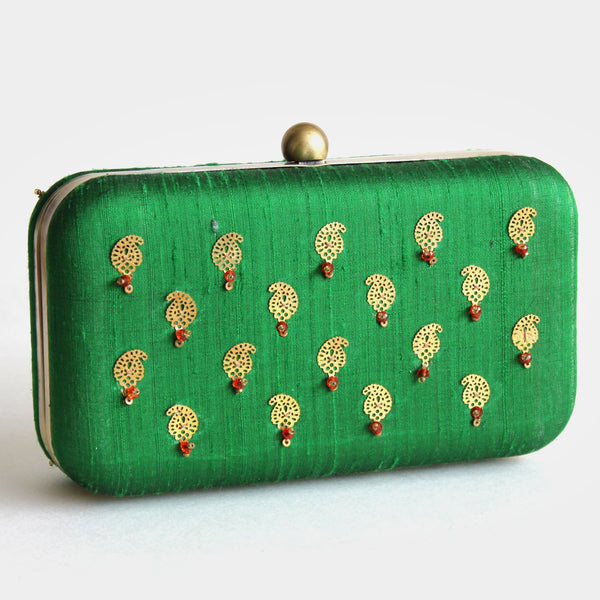 Green Raw Silk Khadi Clutch With Paisley Motifs by Neonia