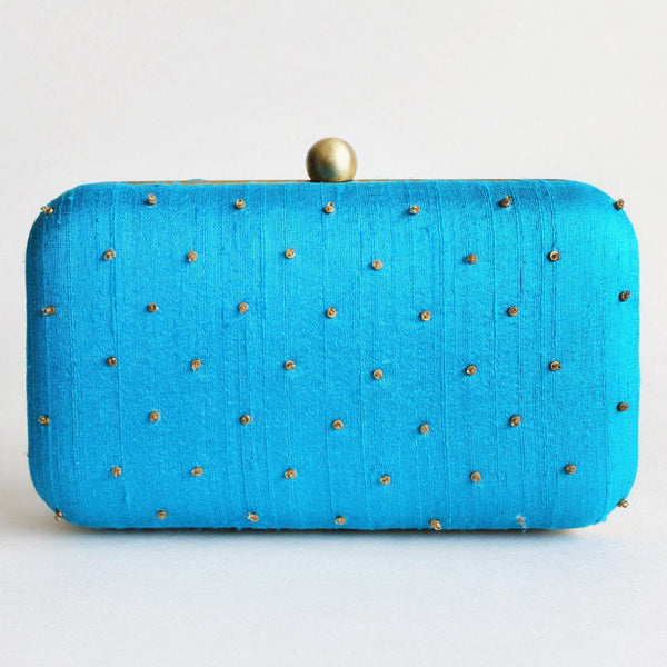 Blue Raw Silk Khadi Clutch With Paisley Motifs