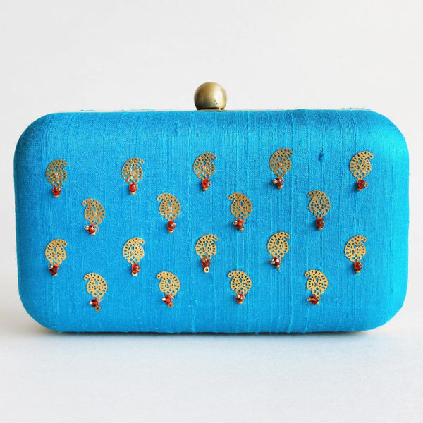 Blue Raw Silk Khadi Clutch With Paisley Motifs by Neonia