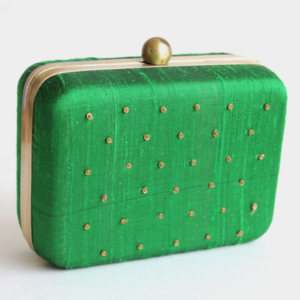 Green Raw Silk Khadi Clutch With Lotus Motifs