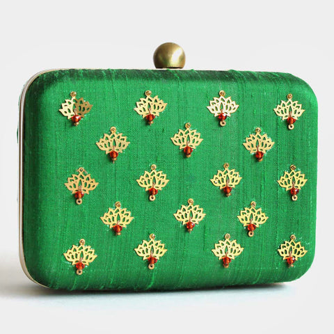 Green Raw Silk Khadi Clutch With Lotus Motifs by Neonia