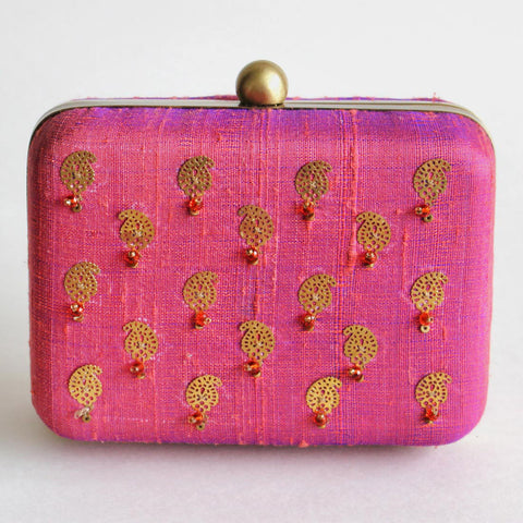 Pink Raw Silk Khadi Clutch With Paisley Motifs by Neonia