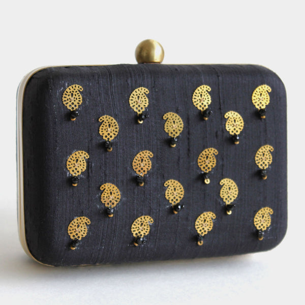 Black Raw Silk Khadi Clutch With Paisley Motifs by Neonia