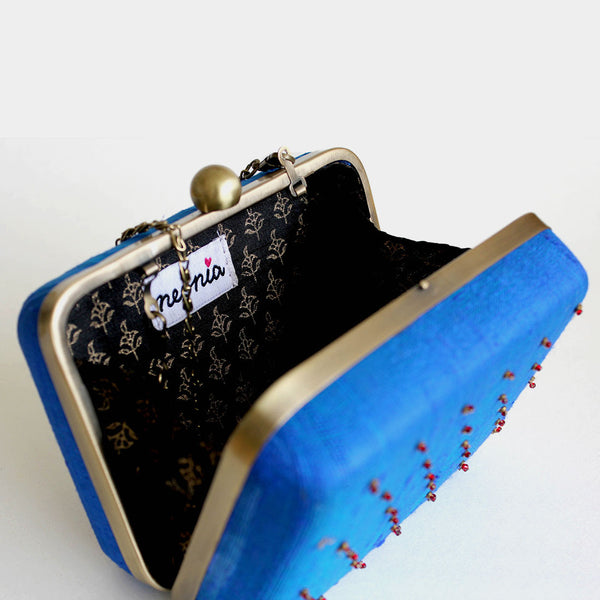 Raw Silk Blue Khadi Clutch with Lotus Motif