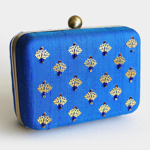 Raw Silk Blue Khadi Clutch with Lotus Motif by Neonia