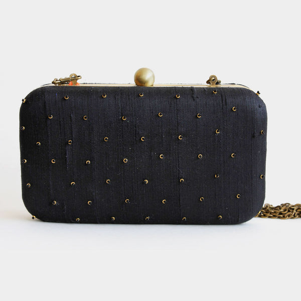 Raw Silk Khadi Black Clutch with Paisley Motif
