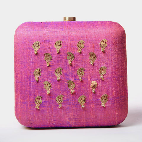 Raw Silk Khadi Pink Clutch with Paisley Motif by Neonia