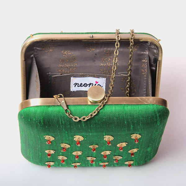 Raw Silk Khadi Green Clutch with Paisley Motif