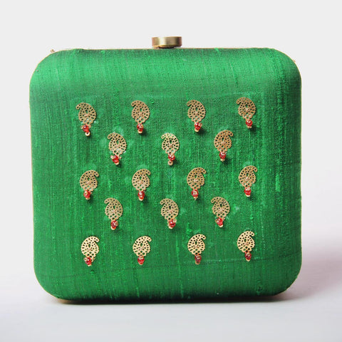 Raw Silk Khadi Green Clutch with Paisley Motif by Neonia