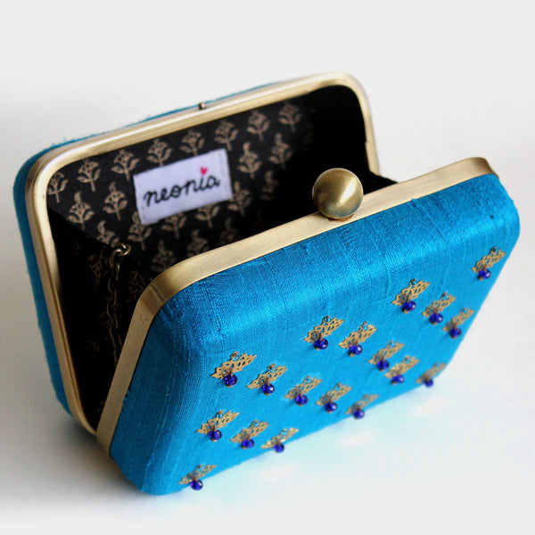 Raw Silk Khadi Blue Clutch with Lotus Motif