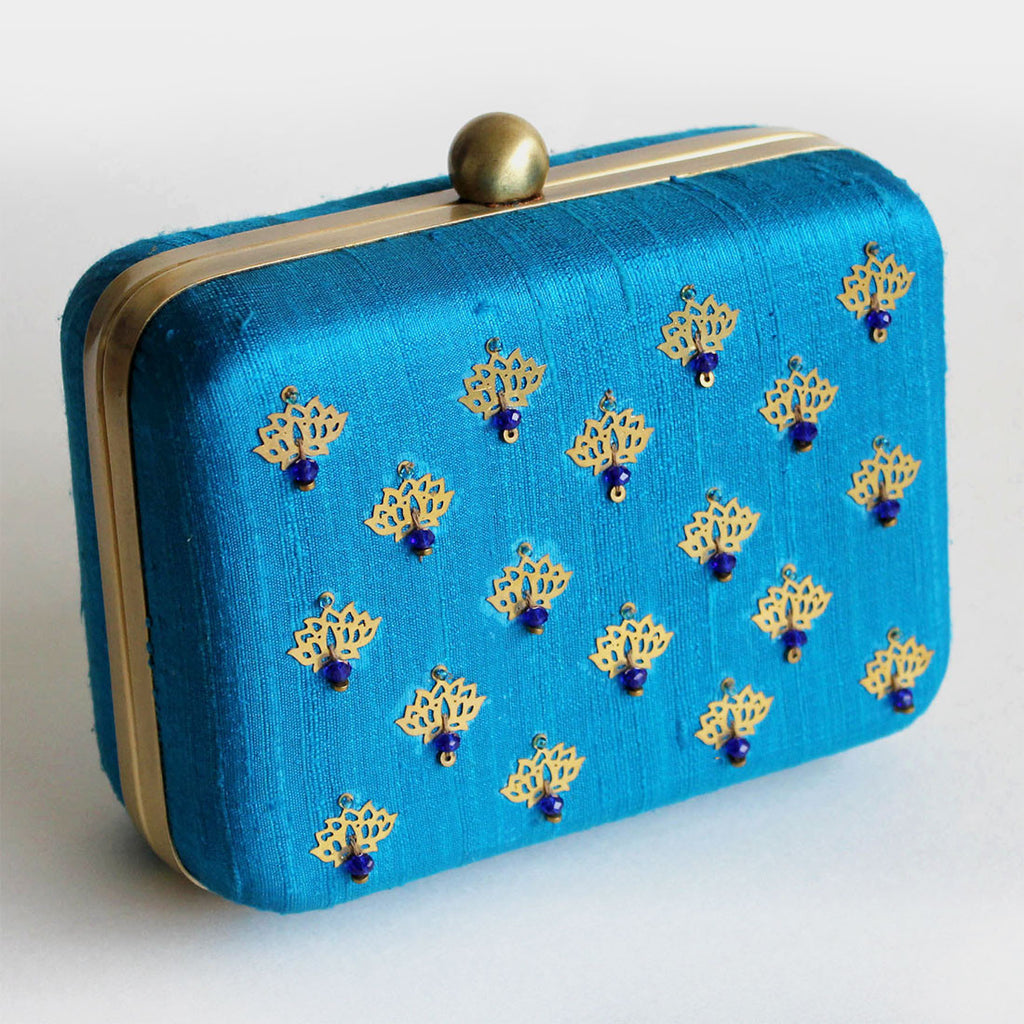 Raw Silk Khadi Blue Clutch with Lotus Motif by Neonia