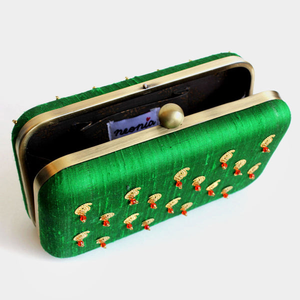 Raw Silk Green Khadi Clutch with Paisley Motif