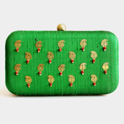 Raw Silk Green Khadi Clutch with Paisley Motif by Neonia