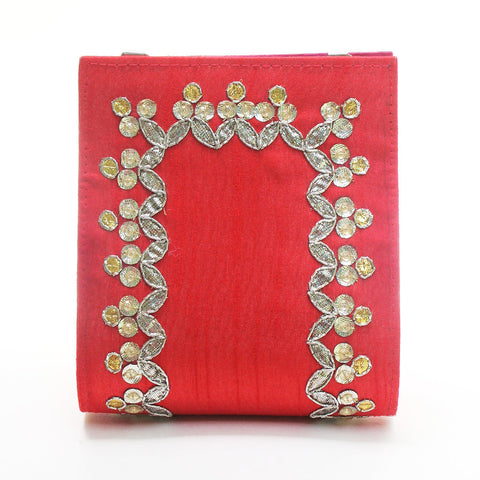 Red Gota Patti Clutch by Neonia
