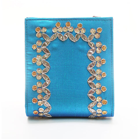 Turquoise Gota Patti Clutch by Neonia