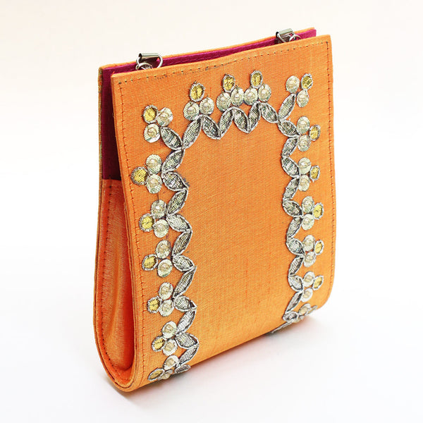 Orange Gota Patti Clutch