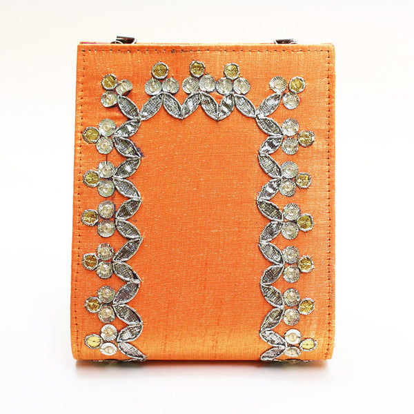 Orange Gota Patti Clutch by Neonia