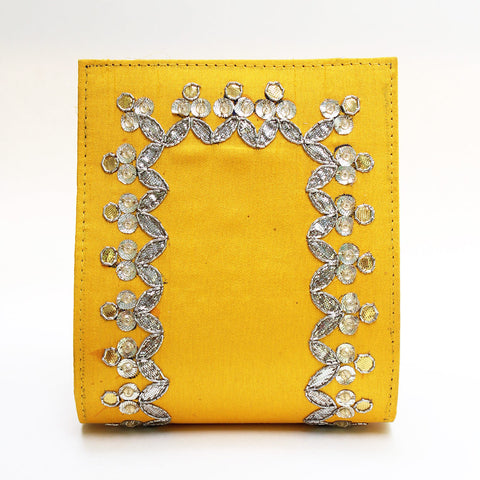 Chrome Yellow Gota Patti Clutch by Neonia