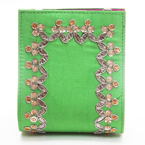 Chartreuse Gota Patti Clutch by Neonia