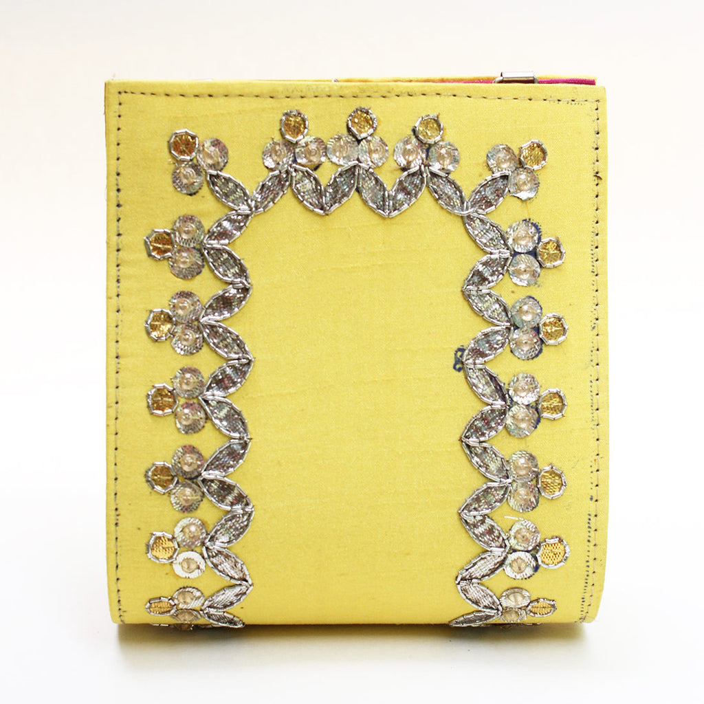 Yellow Gota Patti Clutch by Neonia