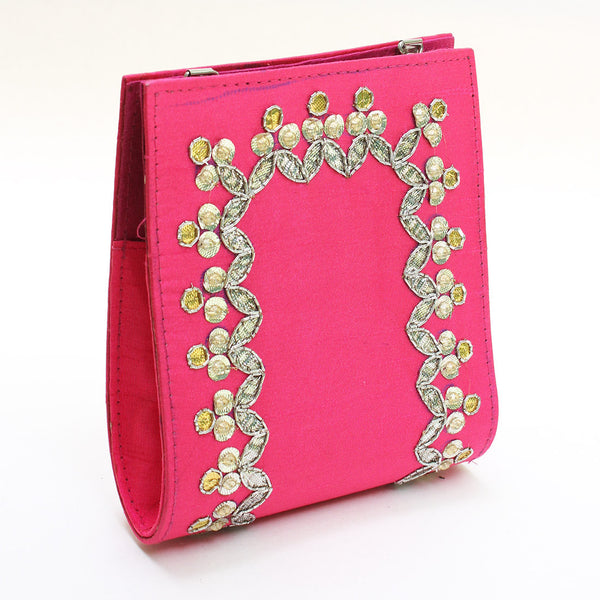 Pink Gota Patti Clutch