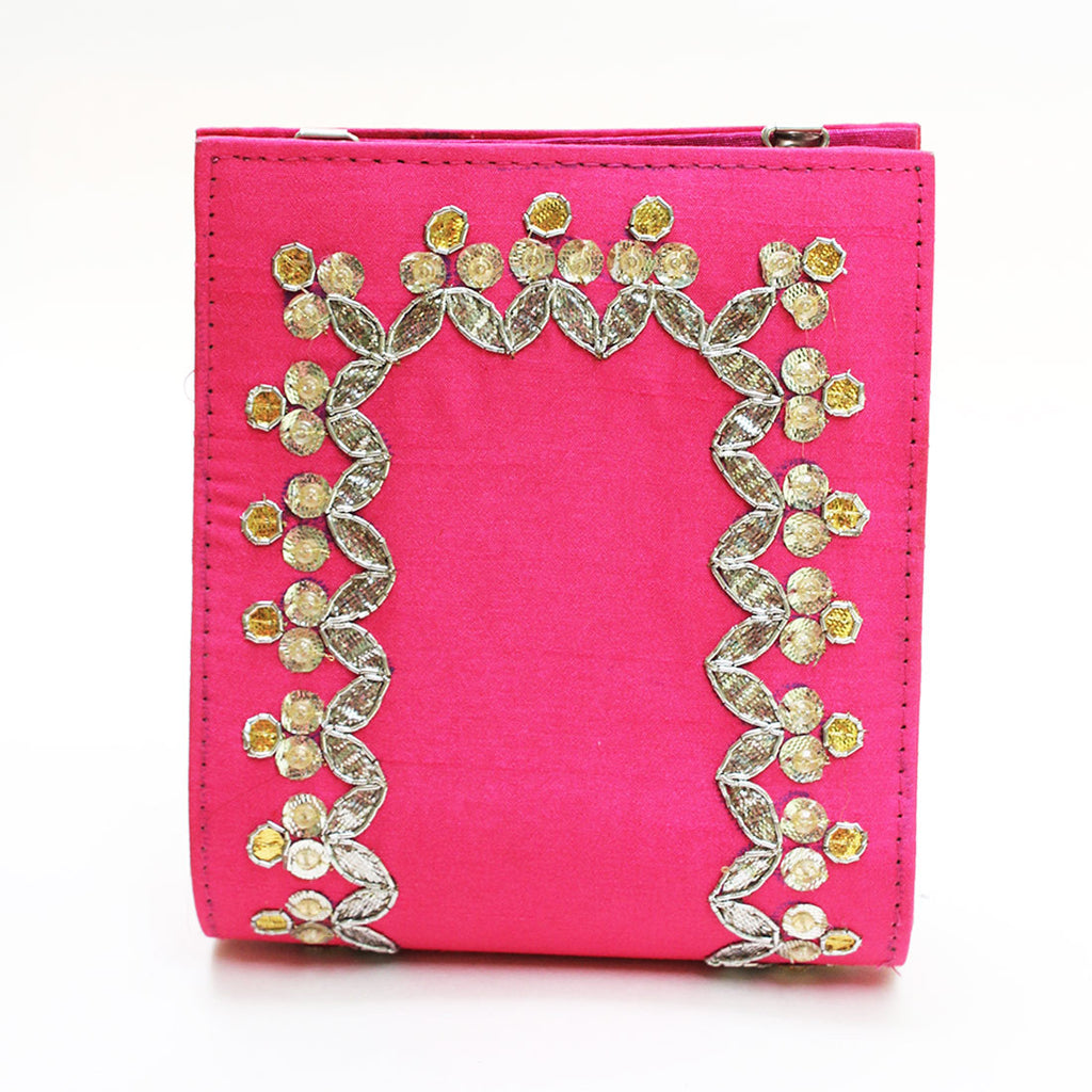 Pink Gota Patti Clutch by Neonia
