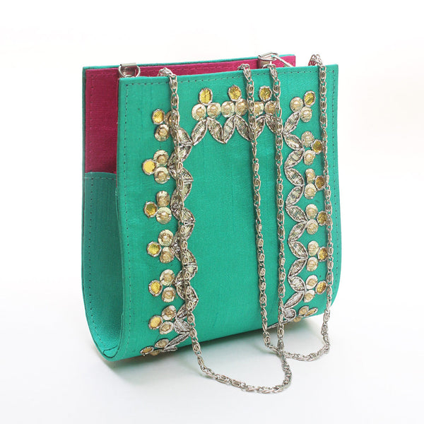 Spring Green Gota Patti Clutch