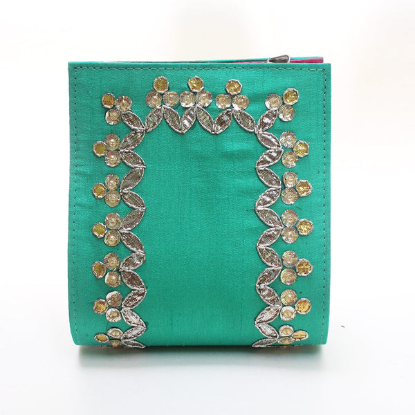 Spring Green Gota Patti Clutch by Neonia