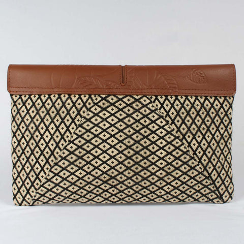 Embossed Leather Flap Envelope Bag With Handloom Fabric by Neonia