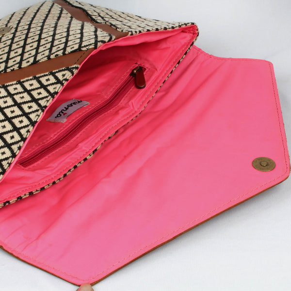 Embossed Leather Flap Envelope Bag With Handloom Fabric