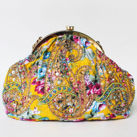 Yellow Floral Printed Sling Bag by Neonia