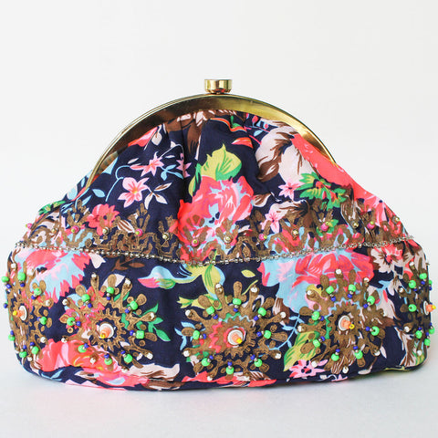 Blue Floral Printed Sling Bag by Neonia