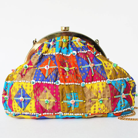 Multicolored Hand Block Printed Sling Bag by Neonia