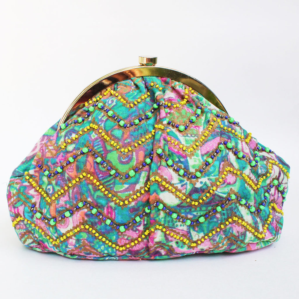 Green Abstract Printed Sling Bag by Neonia