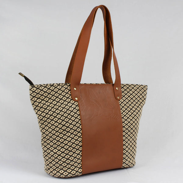 Mid-Sized Brown Leather & Handloom Cotton Tote Bag