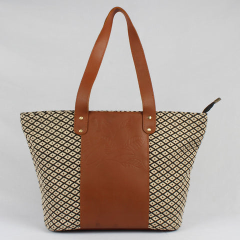 Mid-Sized Brown Leather & Handloom Cotton Tote Bag by Neonia