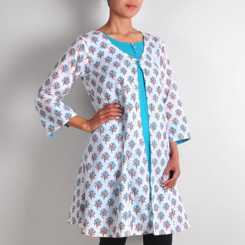 Bright Blue Tunic with Printed Shrug by NOYA