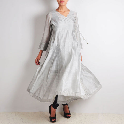 Grey maheshwar silk angrakha anarkali by NOYA