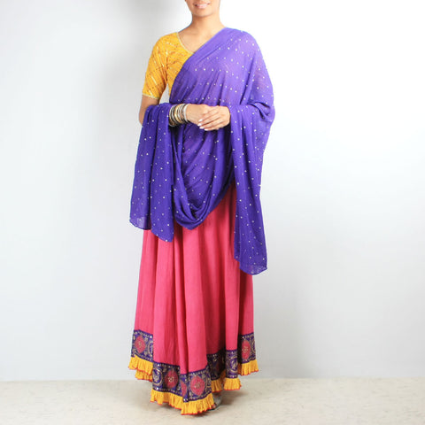 Khadi frill chaniya with butti work dupatta set by NOYA