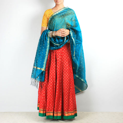 Block print chaniya & teal maheashwar dupatta set by NOYA