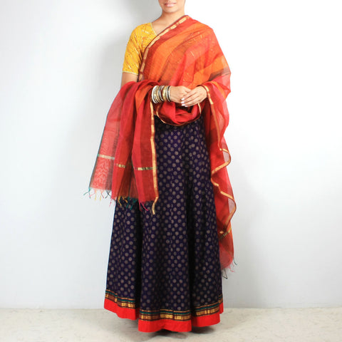 Block print chaniya with bird tassels & dupatta set by NOYA