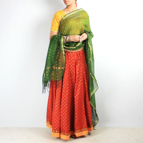 Block printed chaniya & dupatta set by NOYA