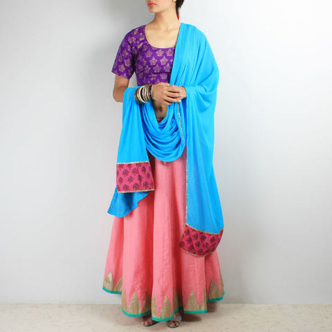 Pink & purple chaniya-choli & dupatta set by NOYA