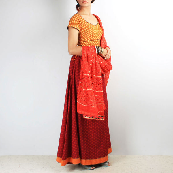 Block Print & Leheriya Chaniya-Choli & Dupatta Set